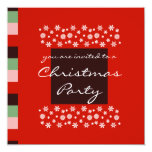 "Bordeaux Red Pink Green Christmas Party Invitation 5.25"" Square Invitation Card"