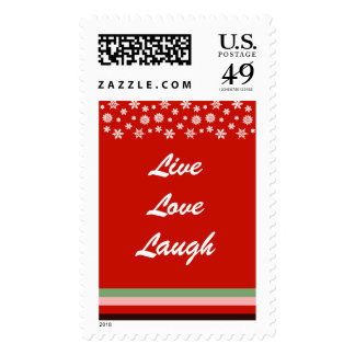 Bordeaux Red Pink Green Christmas Postage Stamp 2