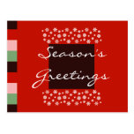 Bordeaux Red Pink Green Christmas Postcard