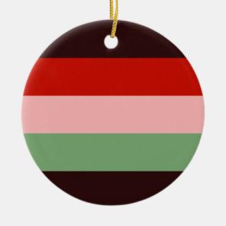 Bordeaux Red Pink Green Stripe Round Tree Ornament