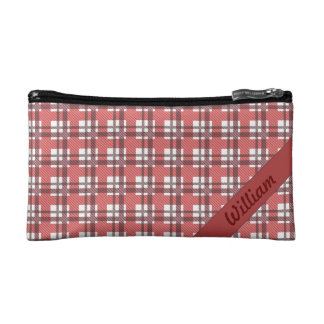 Bordeaux red tartan stripes with name cosmetic bag