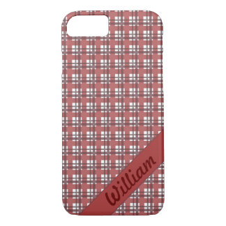 Bordeaux red tartan stripes with name iPhone 8/7 case