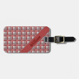 Bordeaux red tartan stripes with name luggage tag