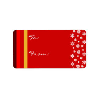 Bordeaux Red Yellow Christmas Gift Label