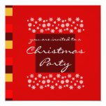 "Bordeaux Red Yellow Christmas Party Invitation 5.25"" Square Invitation Card"