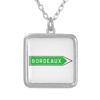 Bordeaux, Road Sign, France Square Pendant Necklace