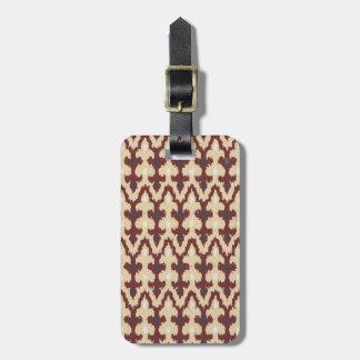 Bordeaux Tan Geometric Ikat Tribal Ornament Pattrn Luggage Tag
