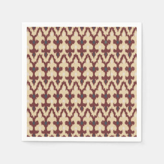 Bordeaux Tan Geometric Ikat Tribal Ornament Pattrn Napkin