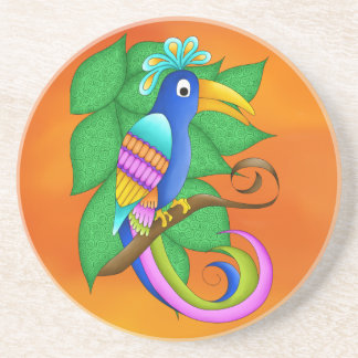 Bordeaux Tropical Bird with Leaves Coaster