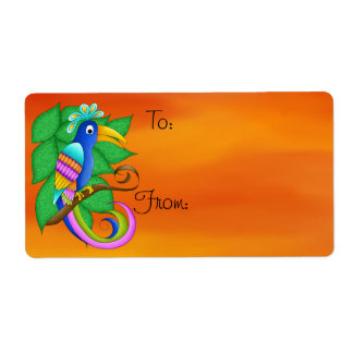 Bordeaux Tropical Bird with Leaves Gift Tag Labels