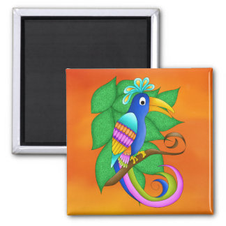 Bordeaux Tropical Bird with Leaves Magnet