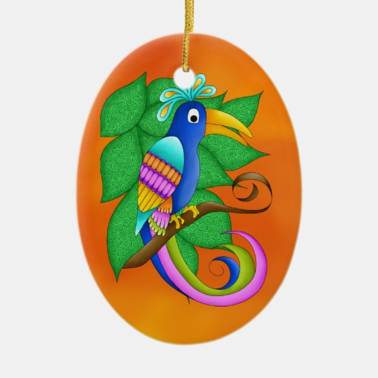 Bordeaux Tropical with Leaves Bird Ornament