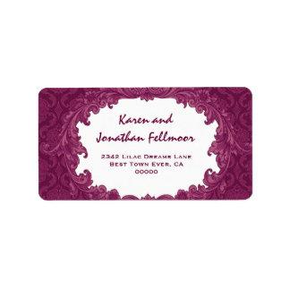 Bordeaux Vintage Curlicue Damask S463 Address Label