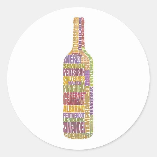 Bordeaux Wine Word Bottle Classic Round Sticker