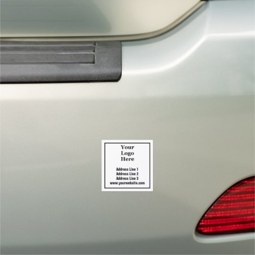 Border around Address Website and Add Your Logo Car Magnet