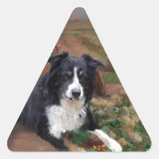 Border Collie 2 Triangle Sticker