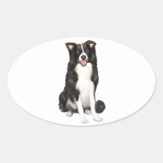 Border Collie (A) - Sitting Oval Sticker