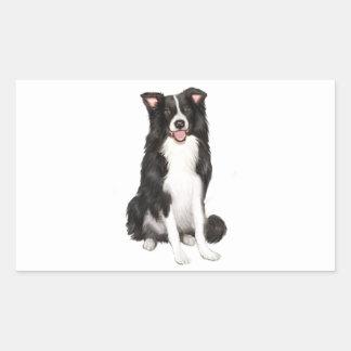 Border Collie (A) - Sitting Rectangular Sticker