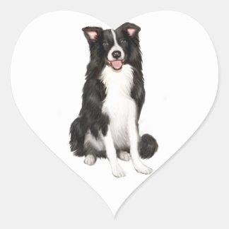 Border Collie (A) - Sitting Heart Sticker