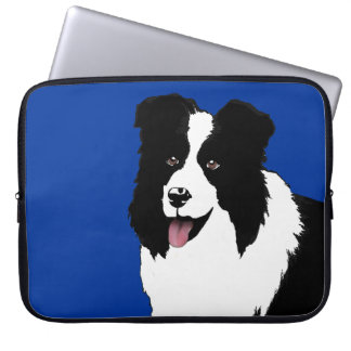 Border Collie add Text Background Color Laptop Computer Sleeve