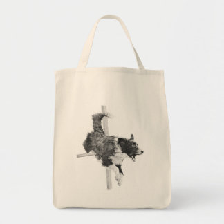 Border Collie Agility Dog Canine Art Grocery Tote