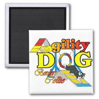 Border Collie Agility Gifts 2 Inch Square Magnet
