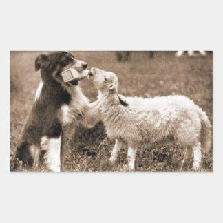 """Border Collie and Lamb""~Sticker Rectangular Sticker"