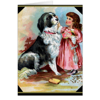 Border Collie and Little Girl Vintage Notecard