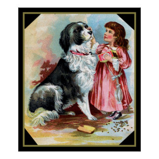 Border Collie and Little Girl Vintage  Poster