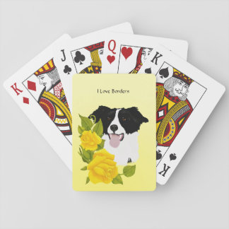 Border Collie and Yellow Roses Playing Cards