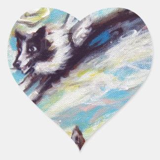 Border Collie angel flies free Heart Sticker