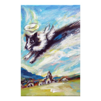 Border Collie angel flies free Stationery