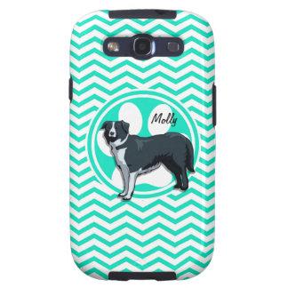 Border Collie; Aqua Green Chevron Galaxy S3 Cases