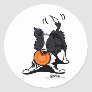 Border Collie at Play Classic Round Sticker