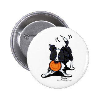 Border Collie at Play Pinback Button