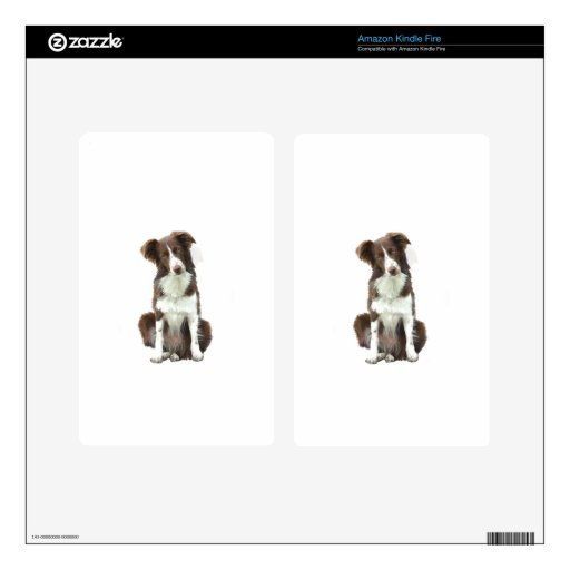 Border collie (b) - marrón y blanco kindle fire skins