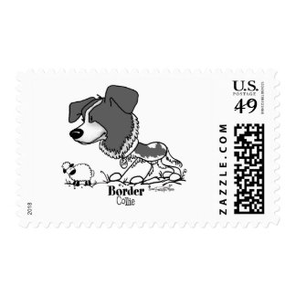Border Collie - B W Postage Stamps