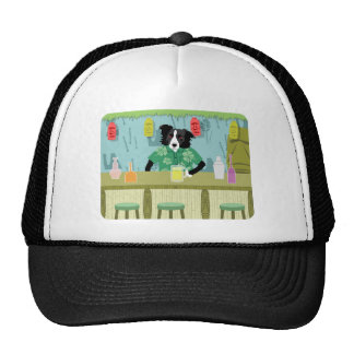Border Collie Bamboo Tiki Bar Mesh Hat
