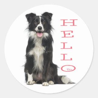 BORDER COLLIE BLACK AND WHITE PUPPY DOG PINK HELLO CLASSIC ROUND STICKER