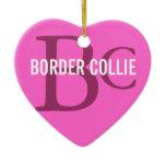 Border Collie Breed Monogram Ceramic Ornament