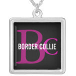 Border Collie Breed Monogram Silver Plated Necklace