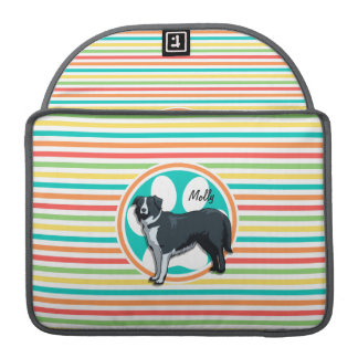 Border Collie; Bright Rainbow Stripes Sleeves For MacBook Pro