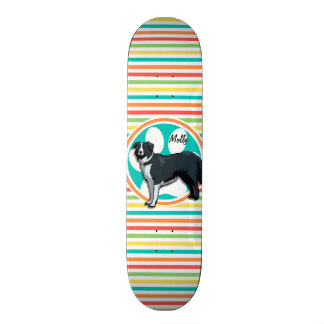 Border Collie; Bright Rainbow Stripes Custom Skate Board