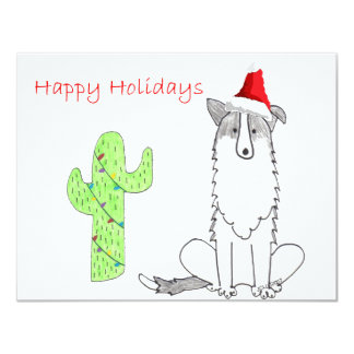 Border Collie Cactus Christmas 4.25x5.5 Paper Invitation Card