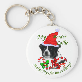 Border Collie Christmas Gifts Keychain