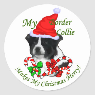 Border Collie Christmas Gifts Classic Round Sticker