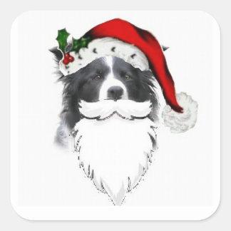 Border Collie Christmas Sticker~Santa With Beard Square Sticker
