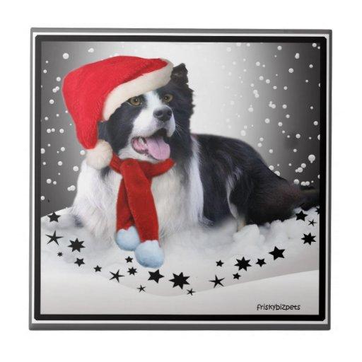 Border Collie Christmas Tiles