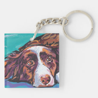 Border Collie Colorful Pop Dog Art Double-Sided Square Acrylic Keychain