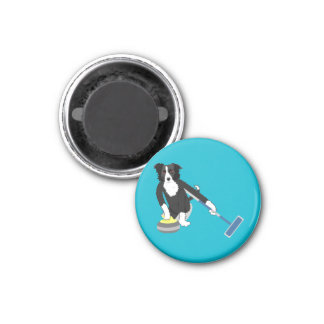 Border Collie Curling 1 Inch Round Magnet